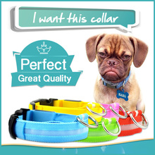 Free shipping 7 Colors Mascotas Glow LED Light Up Nylon Collar Adjustable One Size Collars For Dogs Pets Cats, Collier De Chien