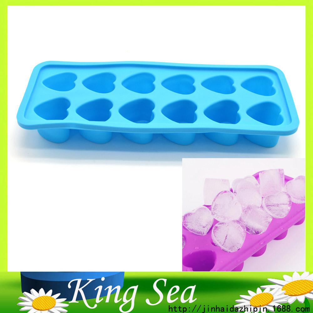Eco-friendly Food Grade 12 Heart Shape Silicone Ice Cube Tray Mini Ice Cubes Small Heart Mold Ice Maker, Ice Cream Tools(China (Mainland))
