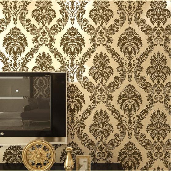 european damask wallpaper pvc flocking floral wall paper