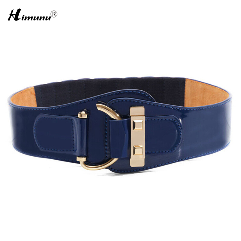 New Fashion Cowskin leather Wide belts for Women Hasp Elastic Patent Leather Female Belt 3 color Girls girdle(China (Mainland))