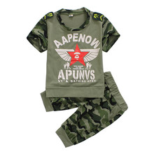 Retail 2015 New Boys Camouflage short sleeve t shirt + pants set Children's fashion army green wear kids summer clothing sets(China (Mainland))