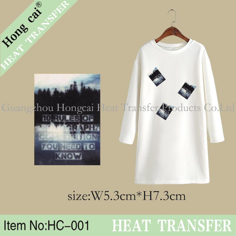 HongCai Small pattern Natural scenery Pet Film customization Heat Transfer Iron On Stickers patches Wholesales(China (Mainland))
