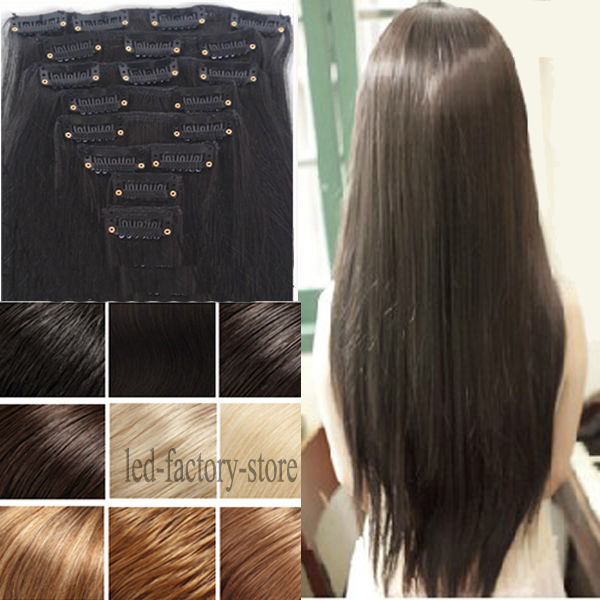 """100% Thick Full head Clip In Hair Extension 24"""" Long Curly Wavy Hair Pad Ombre Brown Black Blonde Fast Free Shipping Li RIch(China (Mainland))"""
