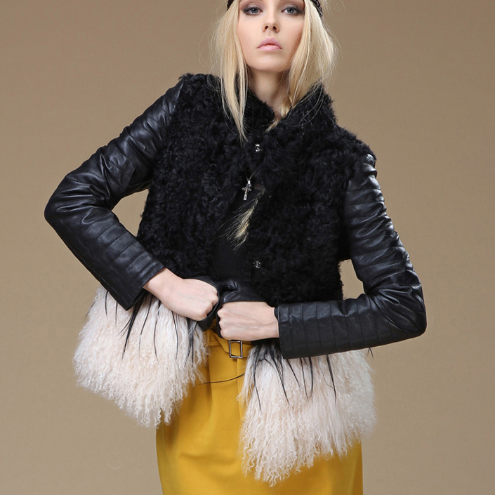 2016 HOT Winter genuine sheep Leather jacket for women with lamb fur in front and tibet sheep fur at bottom Free shipping coat(China (Mainland))