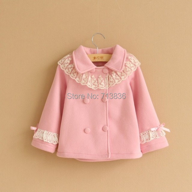 [Eleven Story] Girls winter bow lace cardigan children coats  DS404-13(China (Mainland))