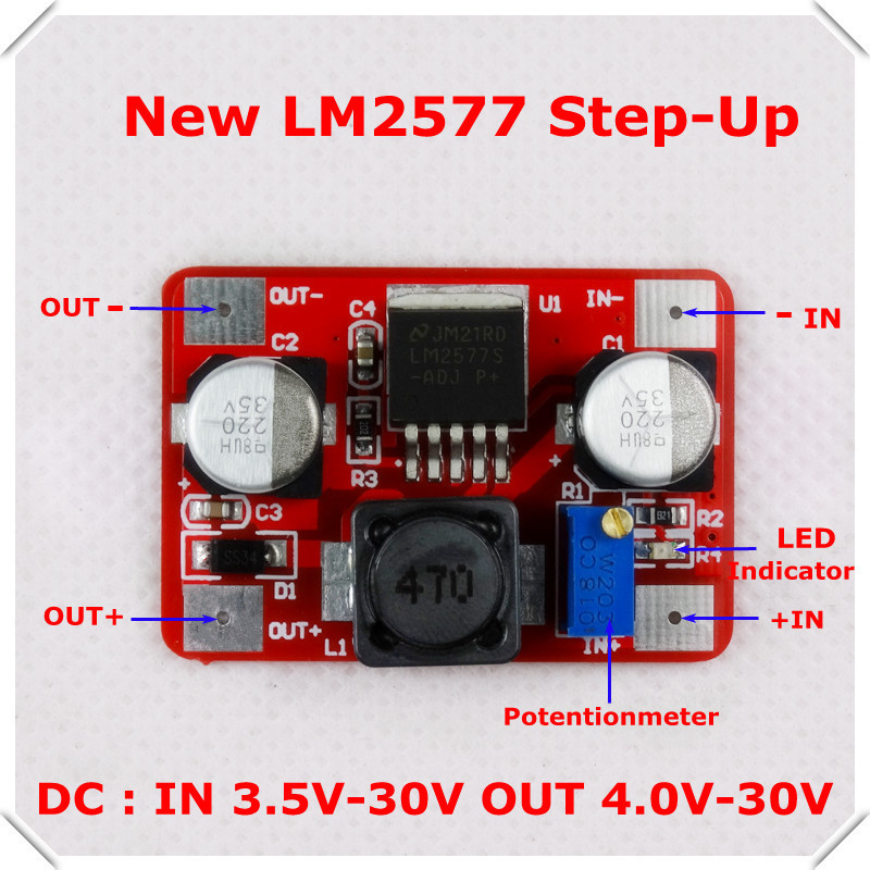 New Boost Voltage Converter LM2577 DC-DC Adjustable Step-Up Power Supply Module LED Indicator [10 piece/lot(China (Mainland))