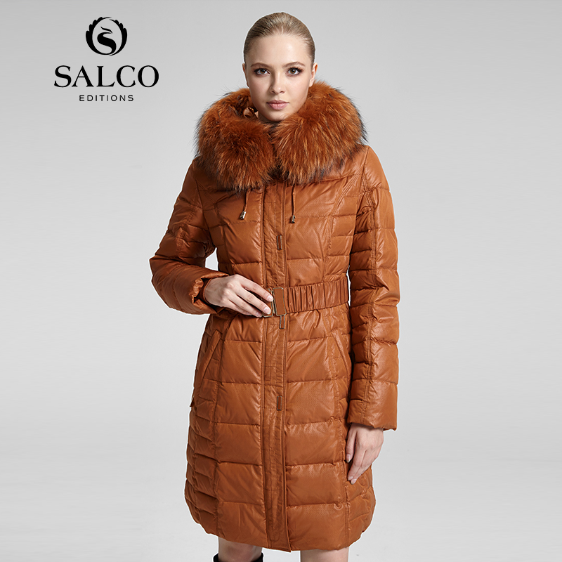 SALCO Free shipping In 2016 the new raccoon wool ms Russia's monopoly in the long hooded down jacket coat(China (Mainland))