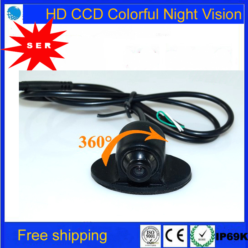 Promotion Mini HD CCD Night Vision 360 Degree Car Rearview Camera MINI CCD Front Camera Front View Side Revere Backup Camera(China (Mainland))