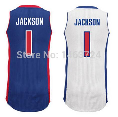 Detroit #1 Reggie Jackson Basketball Jerseys Shirt Uniform Home Blue Road Away White Custom Basketball Jersey Factory Price(China (Mainland))