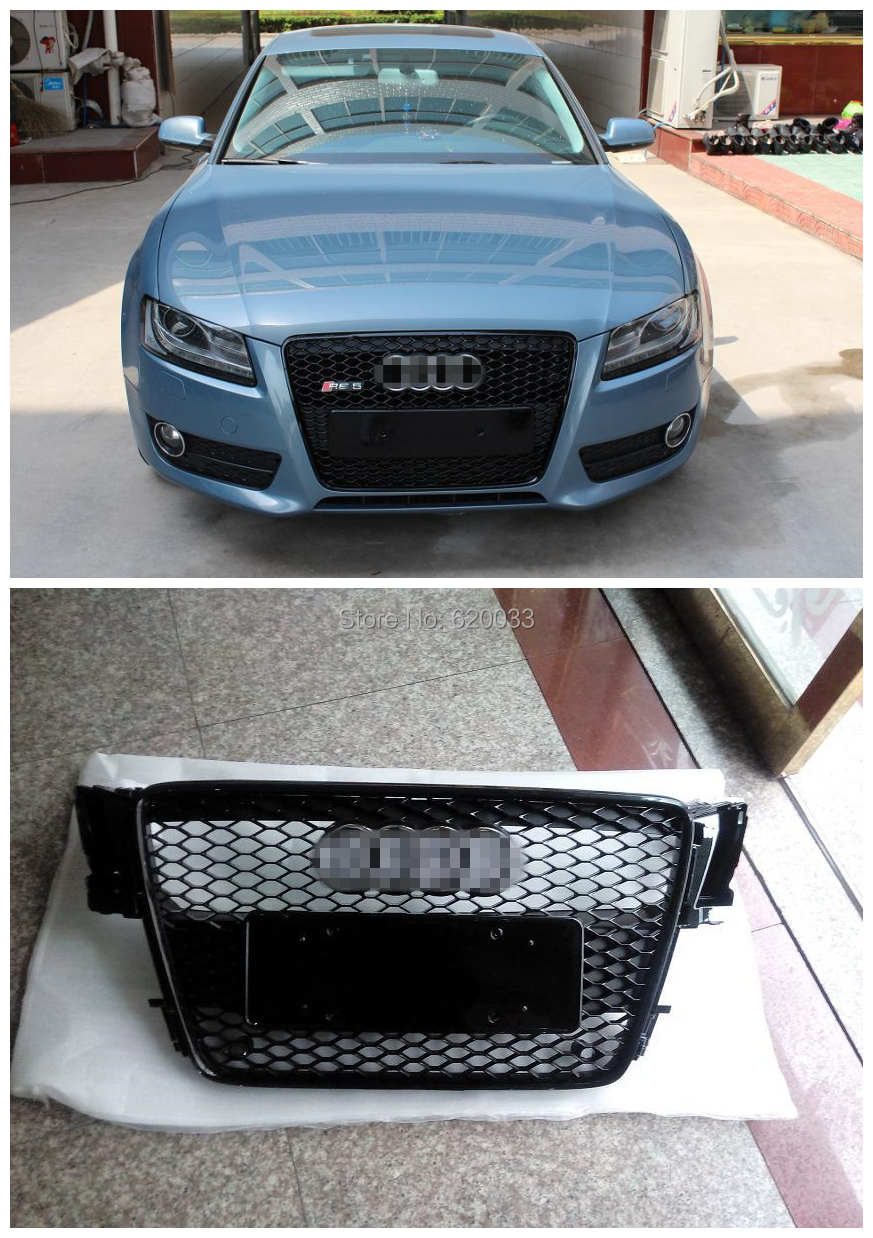 Здесь можно купить  High Quality Front Bumper Honeycomb Grille Fits for 08-12 A5 RS5 Mesh Grill Black Frame With Chrome Emblem High Quality Front Bumper Honeycomb Grille Fits for 08-12 A5 RS5 Mesh Grill Black Frame With Chrome Emblem Автомобили и Мотоциклы