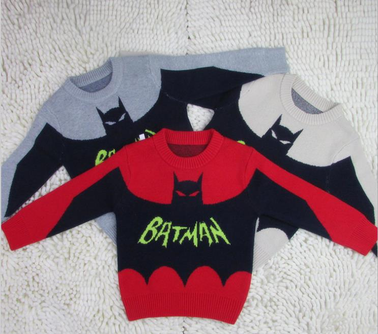 Batman Pattern Baby Boys Pullover Soft Sweaters Winter Crochet Knitted Woolen Warm Sweater Thicken Outwear Kids Child Clothing(China (Mainland))