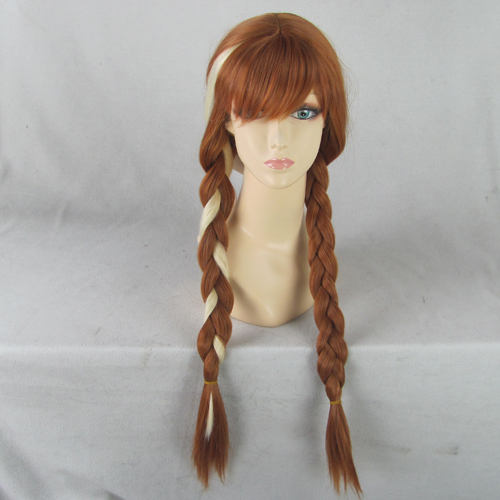 Anna Brown Medium Long Synthetic Hair Cosplay Anime Wig ,Braid Pigtail - CUSTOMIZED COSPLAY WIGS Ltd. Store 111241 store