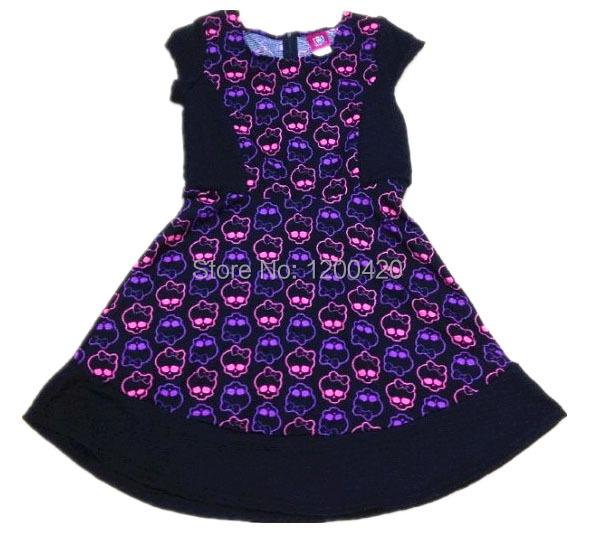 skull short sleeve girls dresses autumn monster high clothes children dresses for girl 7-16y 2015 new Xmas gift black fushia(China (Mainland))