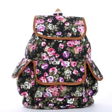 2016 Full Rose Floral Printed Women Canvas Backpack College School bag For Teenager Girls Ladies Travel Book Student Rucksack(China (Mainland))