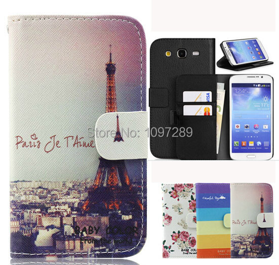 Leather Case for Samsung Galaxy Express 2 G3815 SM-G3815 Wallet Style Eiffel Tower Flower Rainow Cover for Samsung G3815
