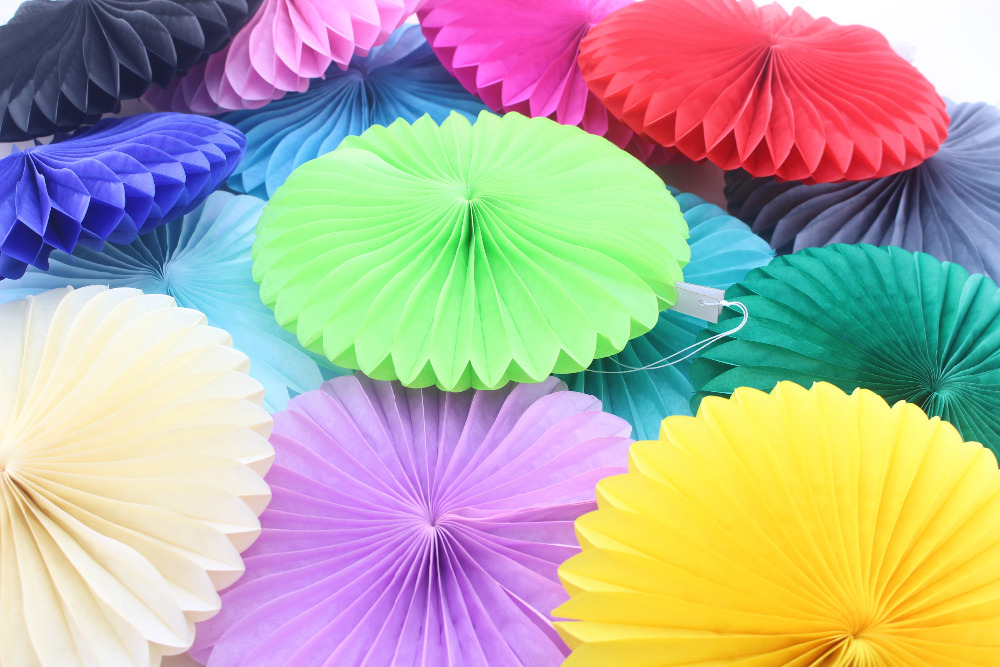 250PCS Mixed Sizes Festival Party Decoration Round Paper Fan for Graduation Balls Free Shipping(China (Mainland))