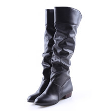 Thời trang Nữ Giày Mùa Xuân Giày Botas Nữ Co Giãn PU Giày Da Giày Người Phụ Nữ Đen Trắng Roma Tới Đầu Gối Giày(China)