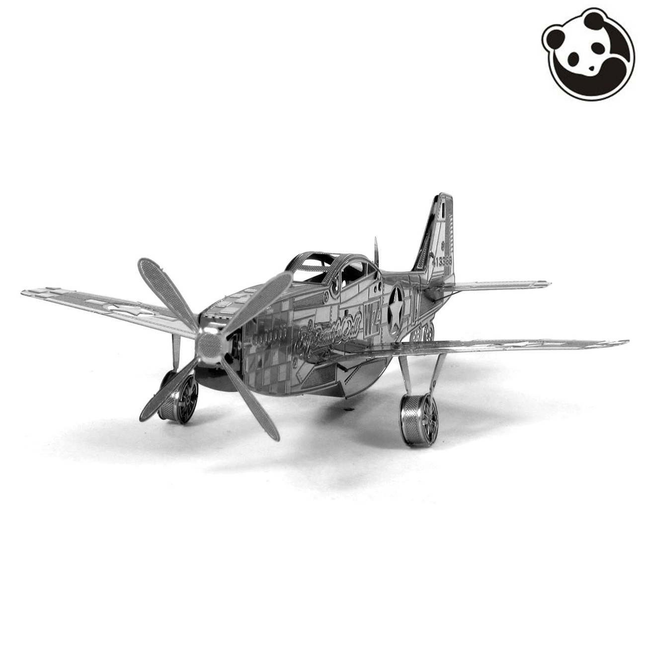 Panda model@PLANES 3D Metal Model Puzzles MUSTANG P-51 Chinese Metal Earth Stainless Steel Military Series Creative Gifts ICONX(China (Mainland))