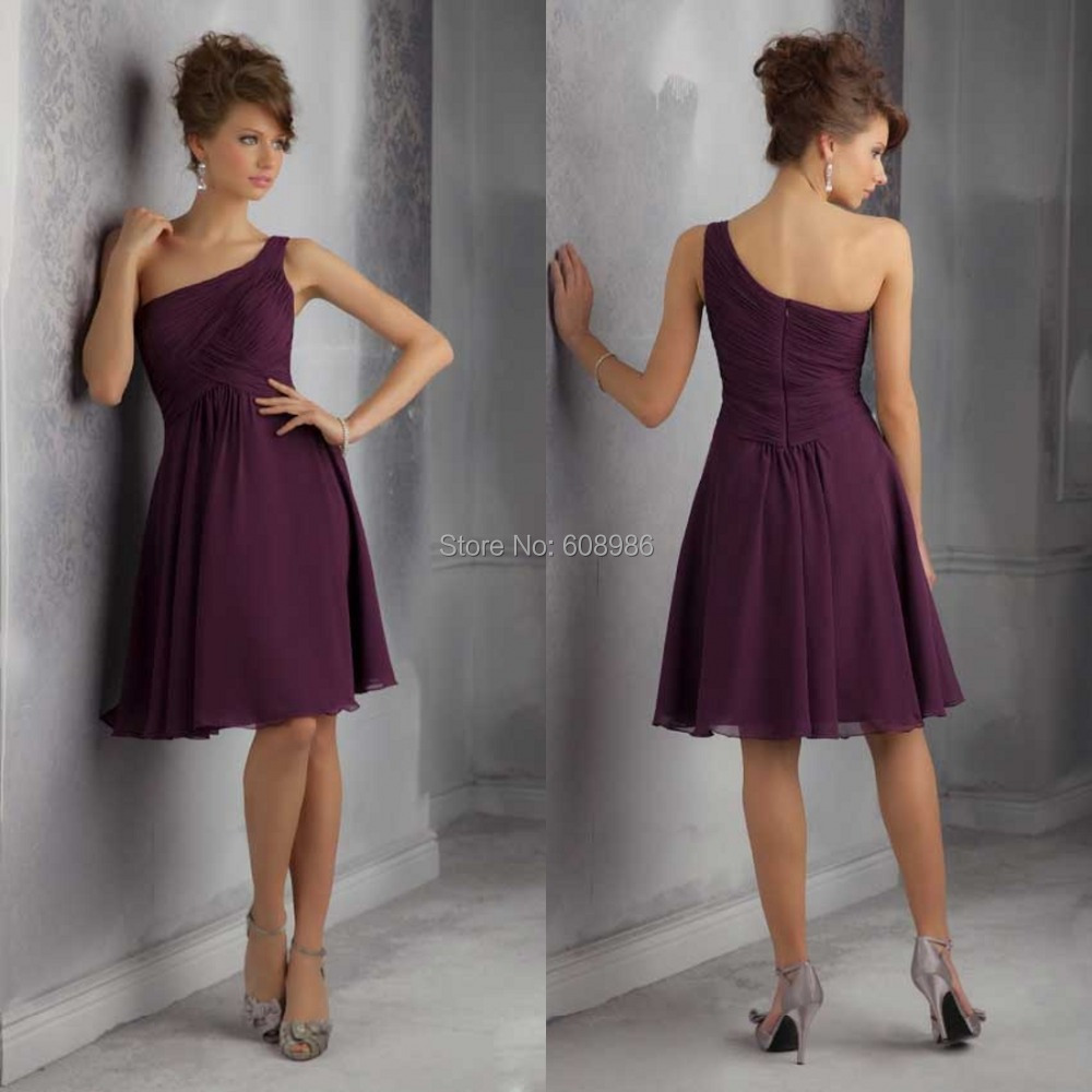 Bridesmaid dresses chiffon one shoulder cheap under 50 for Maid of honor wedding dresses