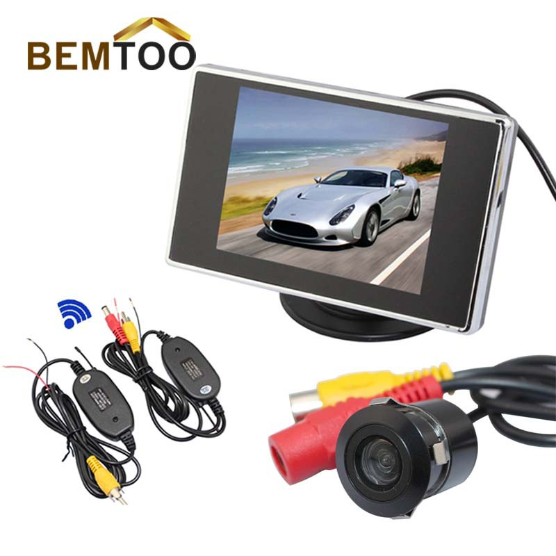 "BEMTOO Free Shipping HongKong Post, Car Rear View Parking Sensor Kit 3.5""LCD Monitor+Reversing Camera+Wireless Adapt(China (Mainland))"