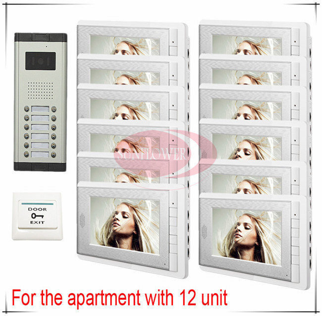 Home security video door phone/ video intercom system 12 keys outdoor unit Clearer Video! HD Camera + 12 LCDS for 12 Apartments(China (Mainland))