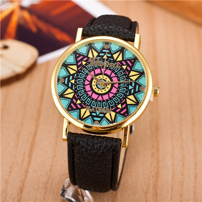 2016 Fashion Women Wristwatch Sunflower Style Leather Strap Analog Quartz Watch Casual Relojes - CX_HWJ Store store