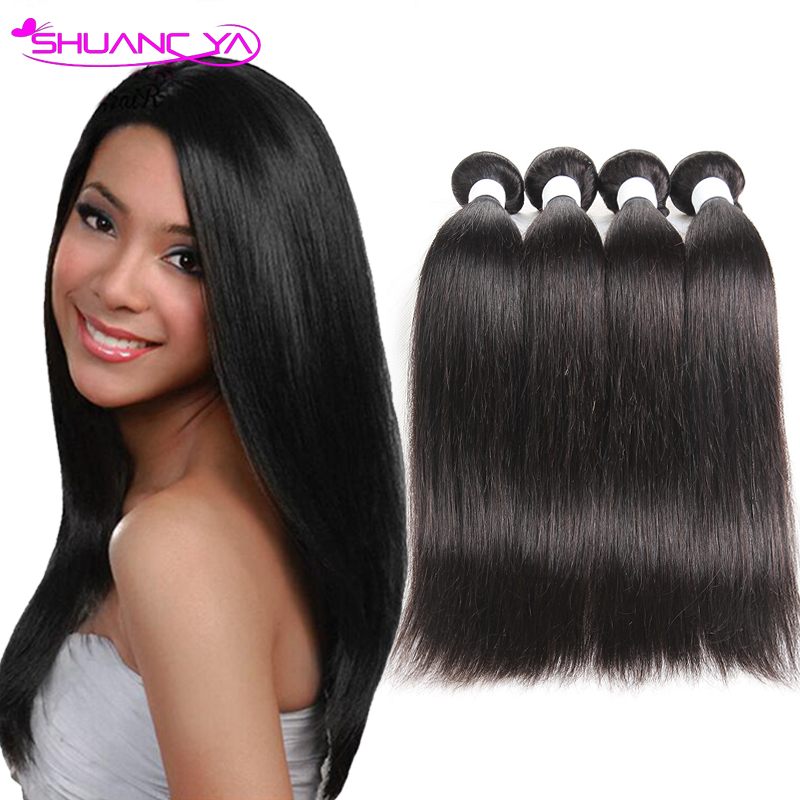 Natutal Black 7a Indian Virgin Hair Straight 4 Bundles Raw Indian Hair Weave Indian Straight Virgin Hair Extension Tangle Free(China (Mainland))