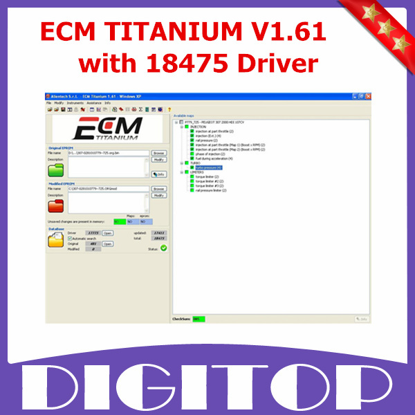 New Version ECM TITANIUM V1.61 with 18475 Driver ECM TITANIUM For Editing File Inside Engine Control Unit with Free Shipping(China (Mainland))