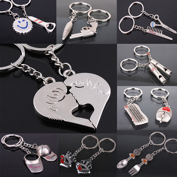 2015 New Fashion Promotion Silver Plated Kiss Love Heart Couple Key Ring Keychain Llaveros Comb Scissor Whistle Hat Chaveiros(China (Mainland))