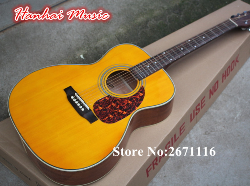Hot Sale-6-String Acoustic Guitar,Yellow Body,Solid Top,Red Tortoise Shell Pickguard,with Fisherman 101 Pickups,can be Customize(China (Mainland))