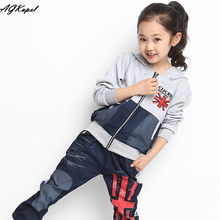 Children's Tracksuits 2015 New Arrival Kids Clothes Sets Girls Autumn Sports Suits Fashion Youth Hoodies+Pants 2Pieces Set 4-15Y(China (Mainland))