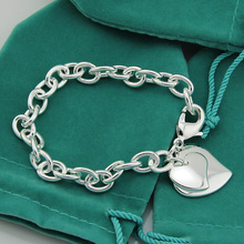 Free shipping, Double Heart Tag Brand New Bracelet,Main Material Copper Silver Plated Bright Color.(China (Mainland))