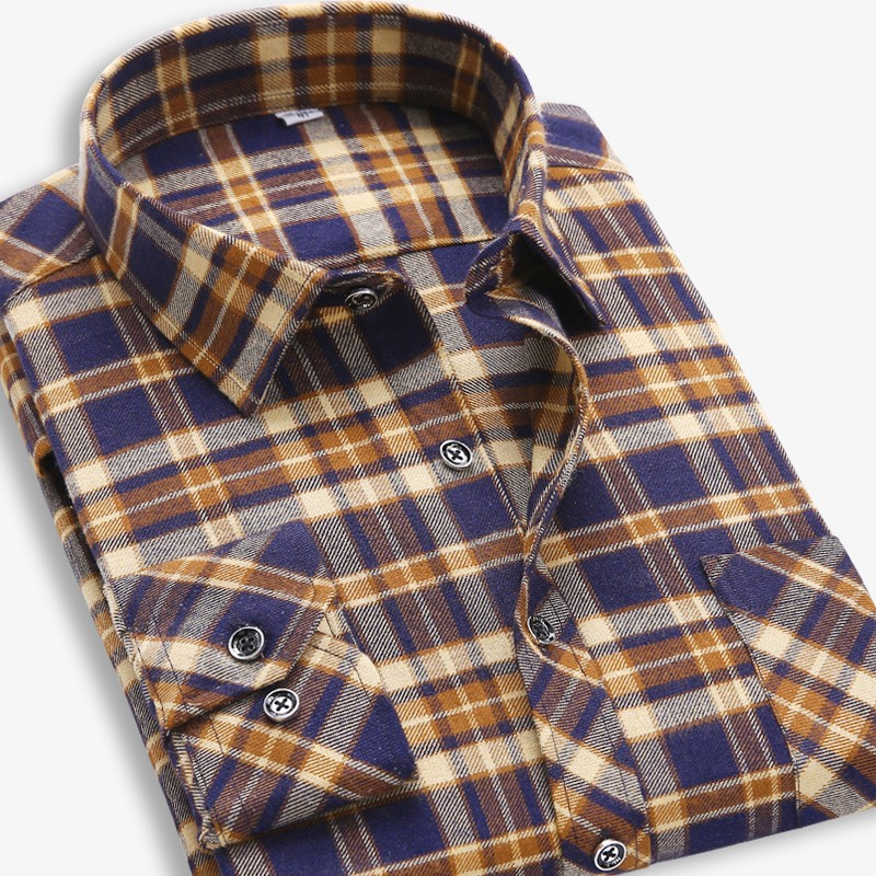 2015 Fall Winter Men Casual Plaid Shirt Long Sleeve Slim Fit Flannel Man Clothes Warm Cotton Business Dress Brand Classic Shirts(China (Mainland))