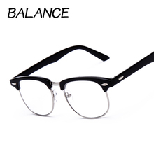 Vintage Eyeglasses Women Semi-rimless reading Plain Glass Spectacles frame classic Men Brand Designer rivet Male Eyewear 6 color