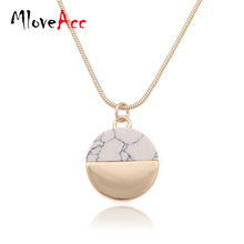 MloveAcc Brand Gold Plated Marbled Faux White/BlackTurquoise Stone Disc Pendant Necklace Women Jewelry - Mloveacc Jewellery Store store
