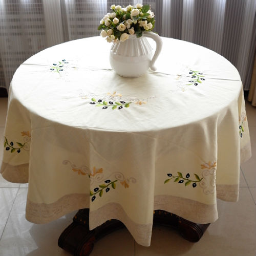 Round Linen Embroidered Olive Branch Tablecloths 175cm ROUND,Free Shipping(China (Mainland))