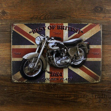 Vintage metal sign retro metal painting art poster plaque 20*30cm Best Of British motorcycle wall sticker home decor cafe bar(China (Mainland))
