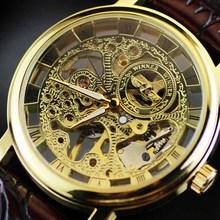Men's Skeleton Mechanical Watch Winner wristwatch Man watches Leather Relogio Masculino Luxury Fashion Casual Wrist Watch