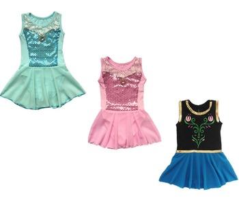 Розничные новые дети эльза анна принцесса девушки дети гимнастика танец платье 3-12Ages синий балетная пачка тренировка одежда купальник одежда