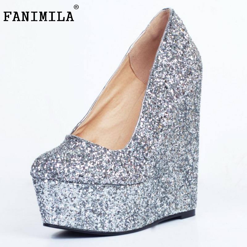 Women Platform Wedge Shoes Woman Fashion Shallow Mouth Heels Pumps Ladies Sexy Glitter Party Wedding Heeled Shoes Size 34-47