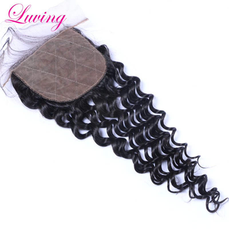 Brazilian Silk Base Closure Cheap Virgin Brazilian Water Wave Closure 4×4″ Natural Wave Hidden Knot Three Middle Or Free Part