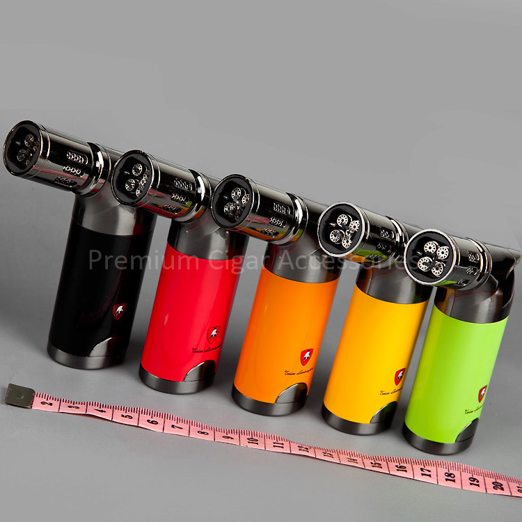High-end Luxury Roadster Style Windproof 4 Torch Jet Flame Butane Gas Cigar Cigarette Lighter with 5 Color Available(China (Mainland))