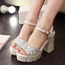 2015 summer fashion sweet beauty style rhinestone sandals high with fish mouth the word buckle shoes