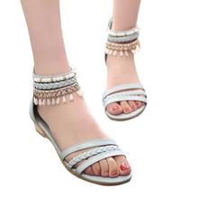 women sandals 2016 fashion Bohemia gladiator sandals women beading sandalias mujer wedges shoes for women 2016 new spring
