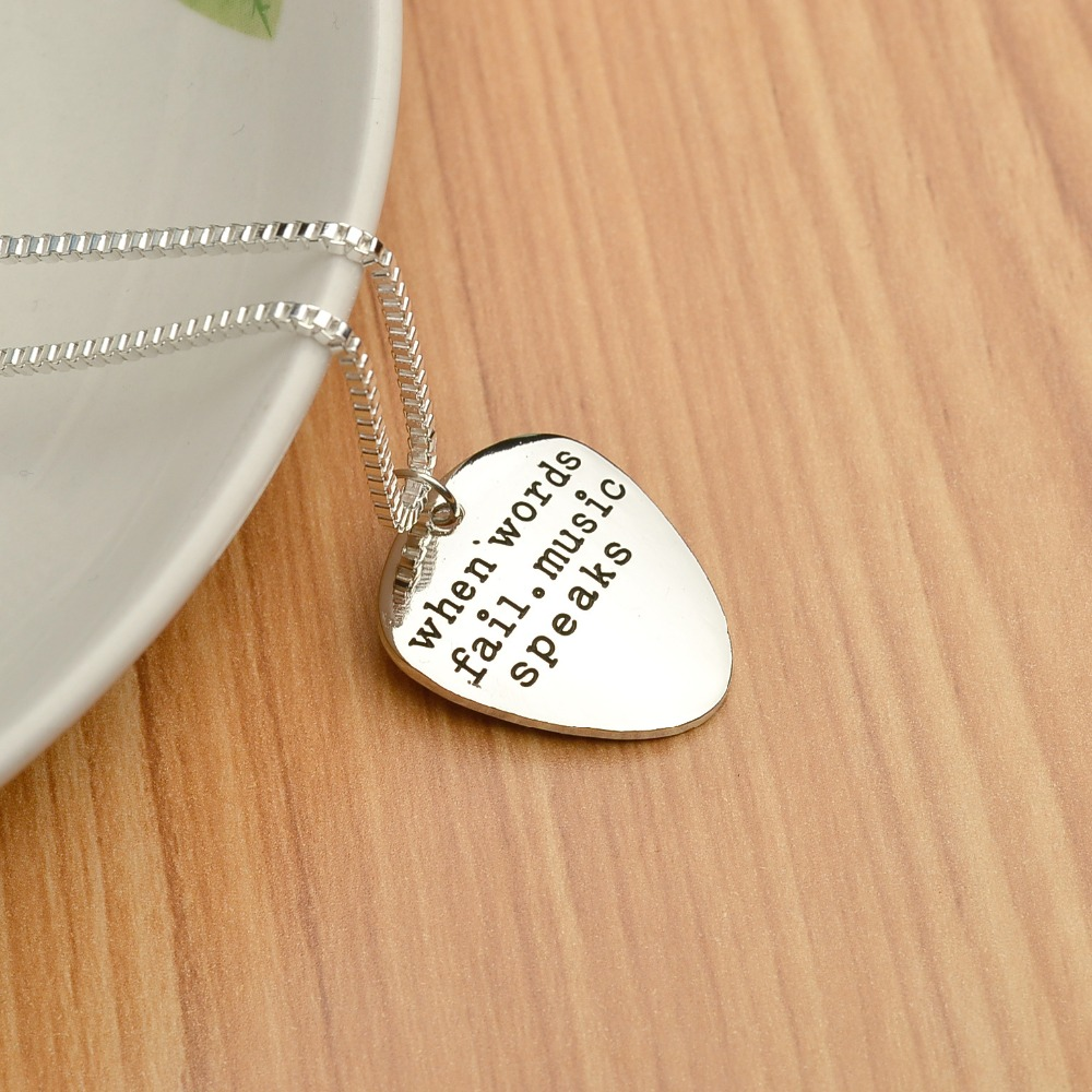 Wholesale 2016 Fashion Jewelry Engraved Necklaces Guitar Pick Pendants 'W-hen words fail, music speaks' Charm Necklace for Girl(China (Mainland))