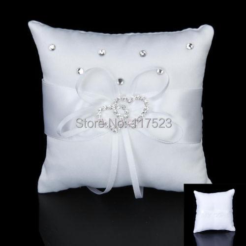 Fashion Satin Double Heart Gem Wedding Party Pocket Ring Pillow Cushion Size 10cm*10cm(China (Mainland))