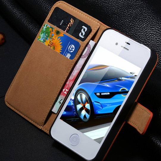 For iPhone 4S Mobile Phone Cases Brown Retro Real Genuine Leather Flip Case For Apple iPhone 4 4S 4G Card Slot Wallet Cover i4(China (Mainland))