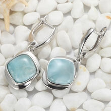 925 sterling silver Larimar Earrings Recommend SS--3805 Christmas gift for women Time limited discount Explosion models Fashion(China (Mainland))