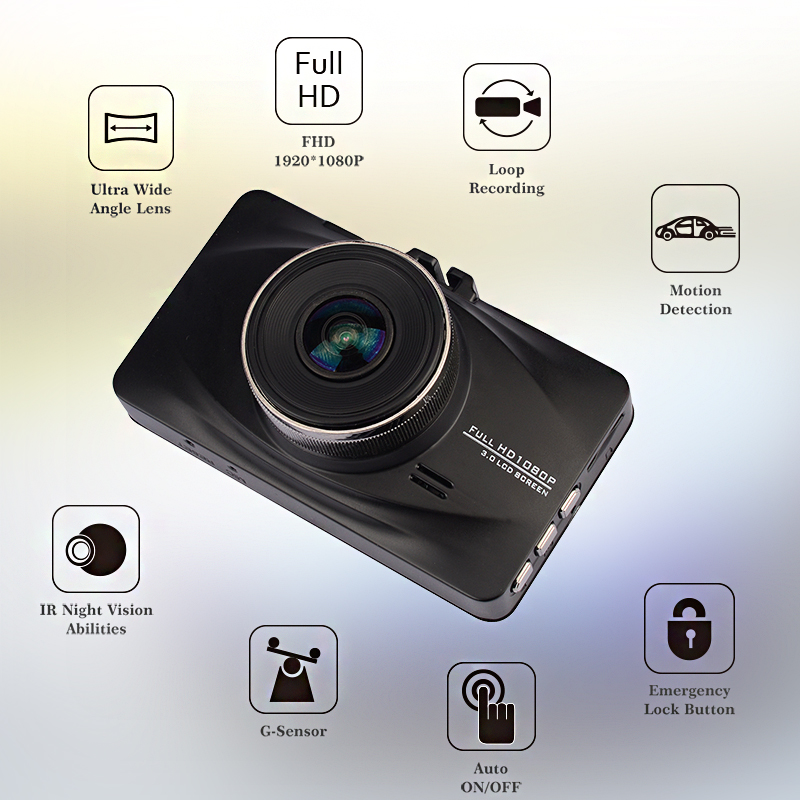 3.0 '' практичный автомобиль тахограф черный dvr высокое качество камеры прочный жк-видеорегистратор автомобиль защитить улучшенный g-сенсор