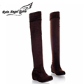 New Sexy Boots Leopard Female Boots Flat Heel Suede Women Over The Knee Boots Increased Plus